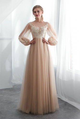 Sexy A Line Long Sleeves Tulle Wedding Dresses