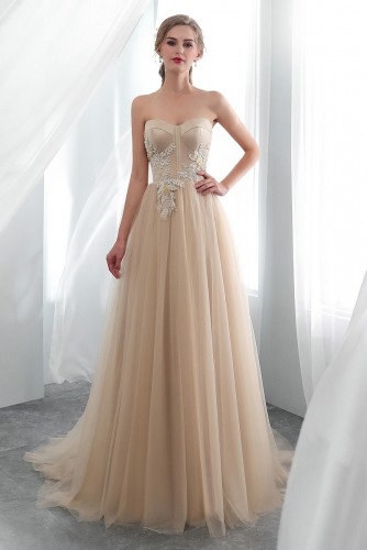 Champagne Color Sweetheart Tulle Wedding Dresses