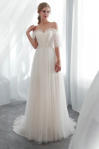 Tulle Beach Wedding Dresses with Elbow Length Sleeves