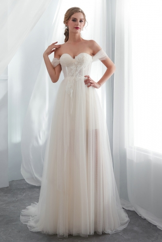 Off Shoulder Simple Sexy Beach Wedding Dresses