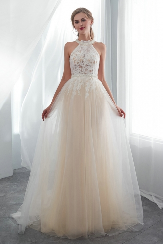 Ivory Lace Over Champagne Tulle Wedding Dresses