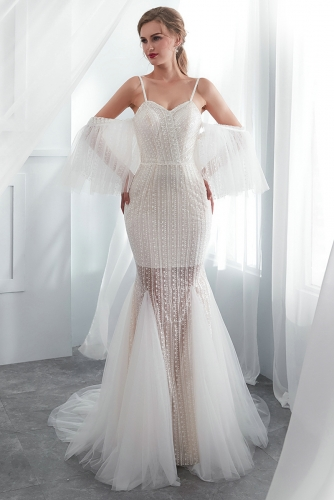 Sexy Beaded Mermaid Lace Wedding Dresses with Sleeves