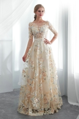 Multi-Coloured Embroidery Lace Long Sleeves Wedding Dress