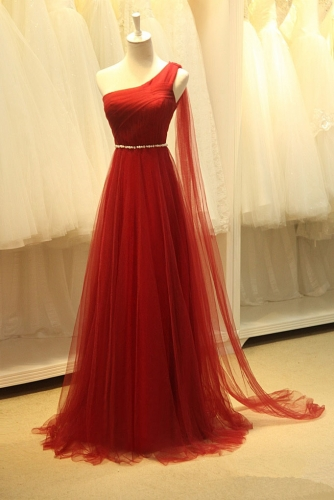 A Line One Shoulder Long Red Dress with Beaded Belt