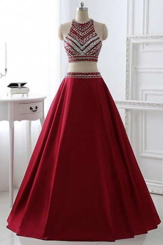 Two Pieces Style Long Red Prom Dresses with Beaded Top