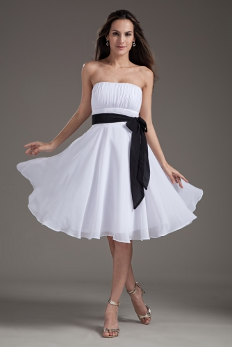 Knee Length White Empire Waist Chiffon  Dresses