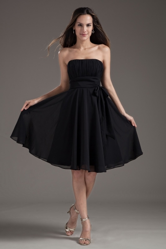 Short Empire Waist Style Black Chiffon Bridesmaid Dresses
