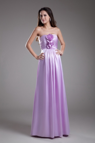 Straight Neck Light Purple Satin Bridesmaid Dresses