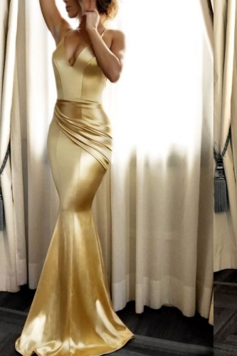 Long Mermaid Gold Sexy Low Back Prom Dresses