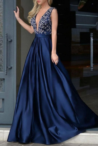 Sexy Low V Back Beaded Navy Satin Prom Dresses