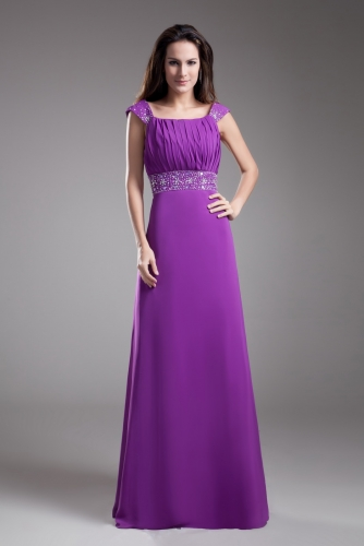 Purple Chiffon Bridesmaid Dresses with Beaded Cap Sleeves
