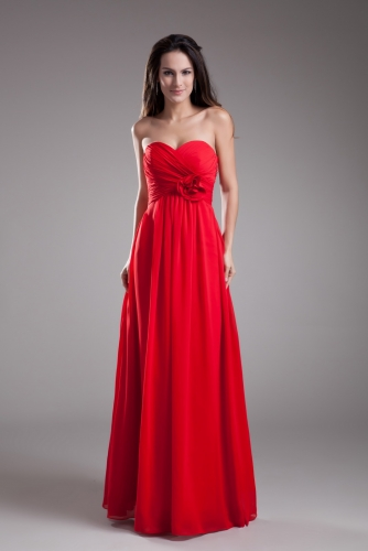 Empire Waist Style Red Chiffon Bridesmaid Dresses