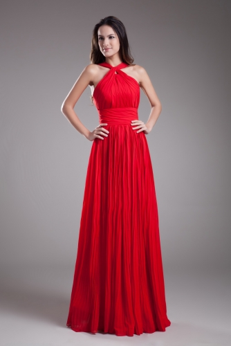 Crushed Floor Length Red Chiffon Bridesmaid Dresses