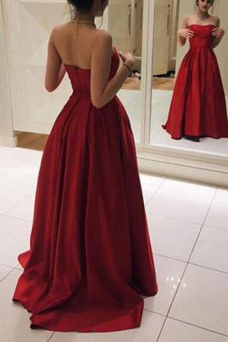 Pleated Dark Red Sweetheart Satin Prom Dresses
