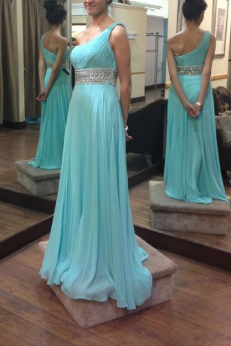 One Shoulder Chiffon Dresses with Beaded Waistband