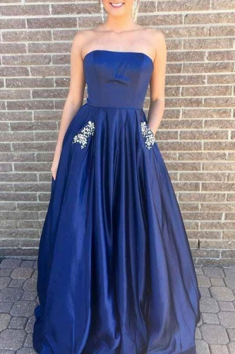 Strapless A Line Ball Gown Satin Dresses with Beaded Pockets