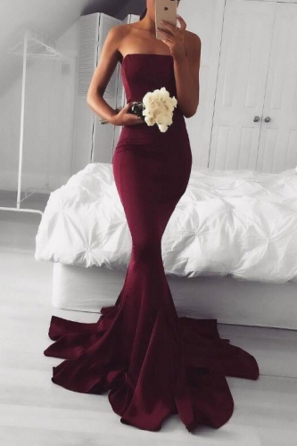 Sexy Burgundy Color Mermaid Jersey Prom Dresses
