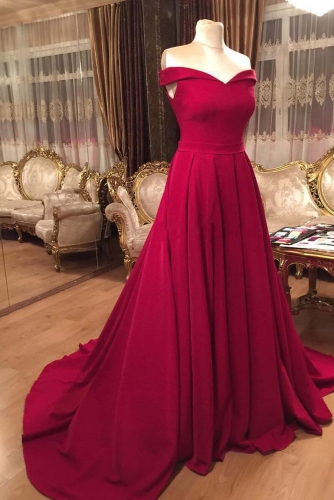 A Line Off Shoulder Red Satin Prom Dresses