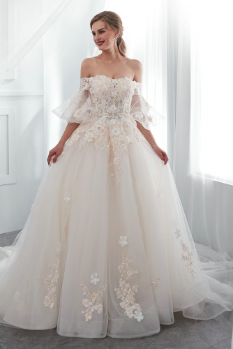 Short Sleeves Ball Gown Wedding Dresses with Lace Appliques