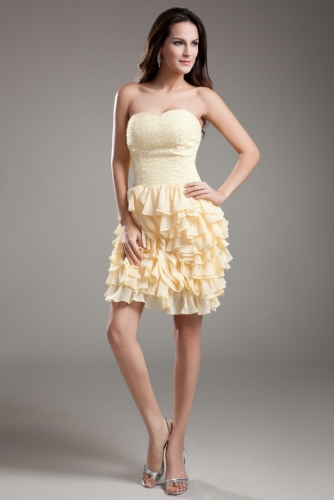 Ruffled Yellow Short Cocktail Dresses with Beaded Bodice