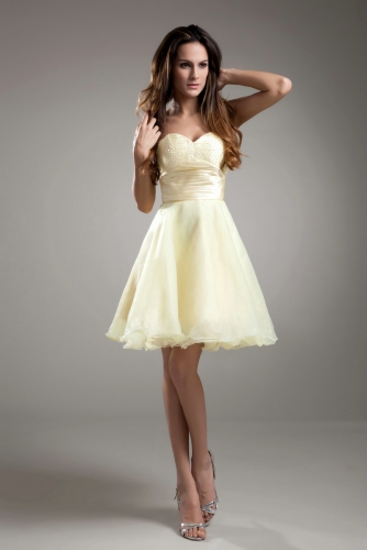 Light Yellow Short Organza Dresses with Beaded Bodice