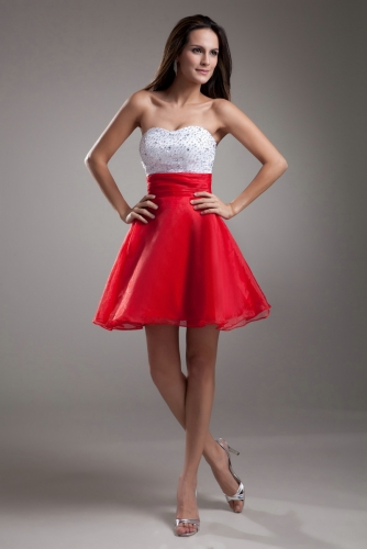 Trendy Short Organza Cocktail Dresses with Beaded Top