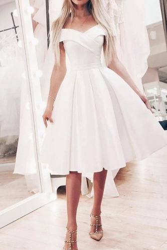 Short Off Shoulder White Satin Dress with Box Pleats