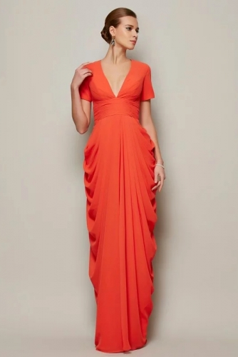 Sexy Orange Draped Chiffon Mother of Bride Dresses