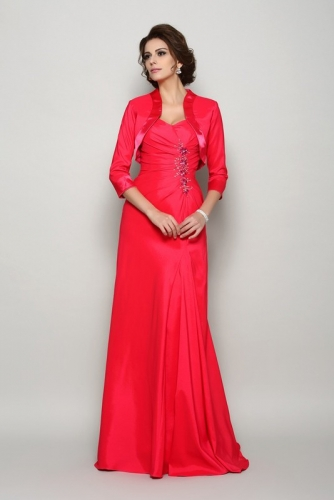 Hot Pink Long Chiffon Mother of Bride Dresses with Jacket