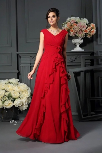 Red Chiffon Floor Length Mother of The Bride Dresses
