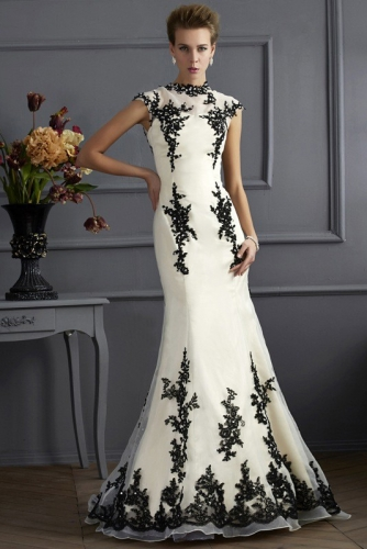 Mermaid Style Dress with Black Lace over Ivory