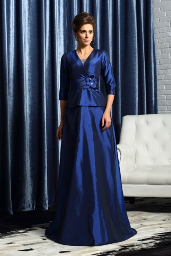 Royal Blue Taffeta Mother of Bride Dress with Sleeves