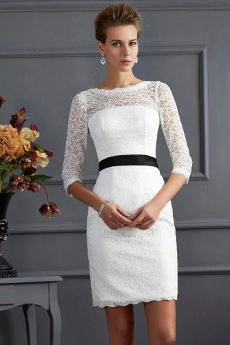 Knee Length Sheath Style Lace Mother of Bride Dresses