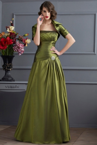 Olive Green Drop Waist Taffeta Mother of Bride Dress with Jacket