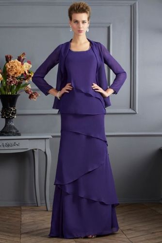 Purple Chiffon Layered Skirt Mother of Bride Dress with Jacket