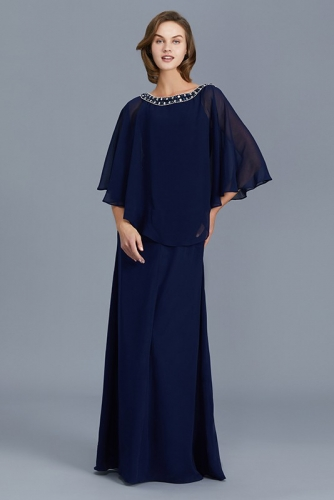 Fake Two Pieces Style Mother of Bride Dress with Sleeves