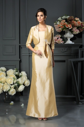 A Line Pale Yellow Taffeta Mother of Bride Dresses with Jacket