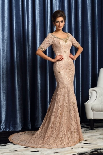 Long Champagne French Lace Mermaid Dresses with Beading