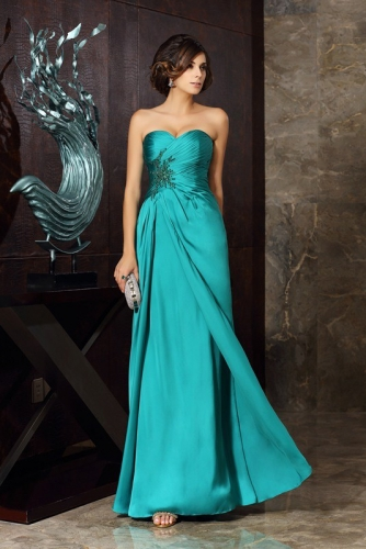 Turquoise A Line Satin Face Chiffon Dress with Pleats
