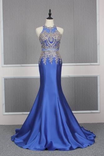 Sexy Royal Blue Mermaid Mikado Dress with Gold Appliques