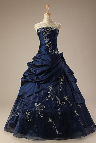 Navy Blue Ball Gown Quinceanera Dresses with Embroidery