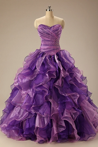 Purple and Pink Quinceanera Dresses with Ruffled Organza