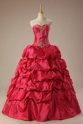 Hot Pink Ball Gown Taffeta Quinceanera Dress with Embroidery