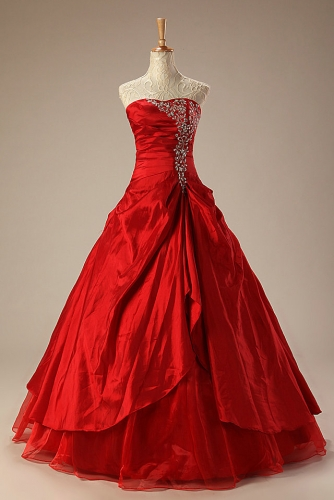 Ball Gown Red  Quinceanera Dresses with Beaded Embroidery
