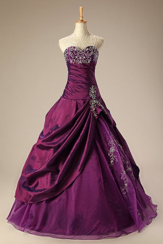 Ball Gown Plum Quinceanera Dresses with Beaded Embroidery