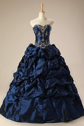 Navy Blue Ball Gown Taffeta Quinceanera Dress with Embroidery