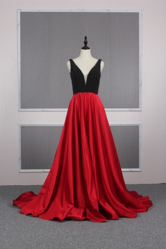 Low V Neck Red Satin Prom Dresses with Black Beaded Bodice