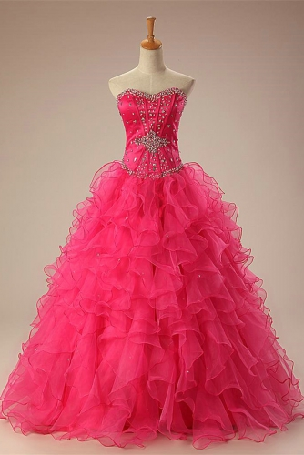 Beaded Hot Pink Quinceanera Dresses with Ruffled Organza Skirt