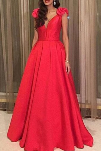 Simple A Line Satin Long Red Prom Dresses