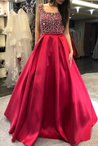 Red Satin Prom Dresses with Beaded Square Neck Bodice